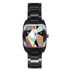 Geometric Polka Triangle Dots Line Stainless Steel Barrel Watch by Mariart
