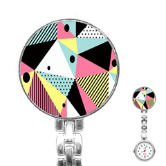 Geometric Polka Triangle Dots Line Stainless Steel Nurses Watch by Mariart