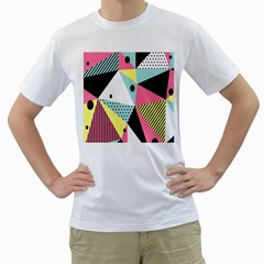 Geometric Polka Triangle Dots Line Men s T Shirt (white)  by Mariart