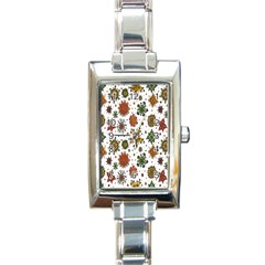 Flower Floral Sunflower Rose Pattern Base Rectangle Italian Charm Watch by Mariart