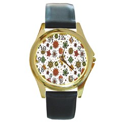 Flower Floral Sunflower Rose Pattern Base Round Gold Metal Watch by Mariart