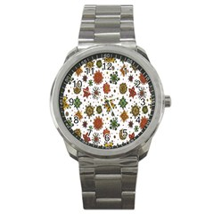Flower Floral Sunflower Rose Pattern Base Sport Metal Watch by Mariart