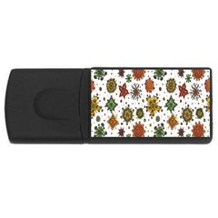 Flower Floral Sunflower Rose Pattern Base Usb Flash Drive Rectangular (4 Gb) by Mariart