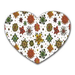 Flower Floral Sunflower Rose Pattern Base Heart Mousepads by Mariart
