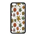 Flower Floral Sunflower Rose Pattern Base Apple iPhone 5C Seamless Case (Black) Front