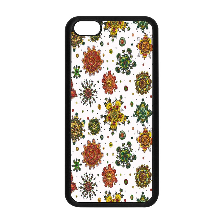 Flower Floral Sunflower Rose Pattern Base Apple iPhone 5C Seamless Case (Black)