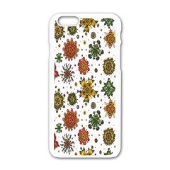 Flower Floral Sunflower Rose Pattern Base Apple Iphone 6/6s White Enamel Case by Mariart