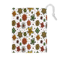 Flower Floral Sunflower Rose Pattern Base Drawstring Pouches (extra Large) by Mariart