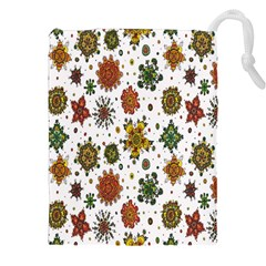 Flower Floral Sunflower Rose Pattern Base Drawstring Pouches (xxl) by Mariart