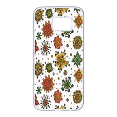 Flower Floral Sunflower Rose Pattern Base Samsung Galaxy S7 Edge White Seamless Case