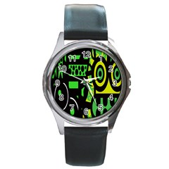 Half Grower Banner Polka Dots Circle Plaid Green Black Yellow Round Metal Watch by Mariart
