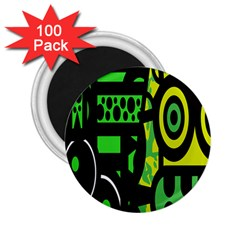 Half Grower Banner Polka Dots Circle Plaid Green Black Yellow 2 25  Magnets (100 Pack)  by Mariart