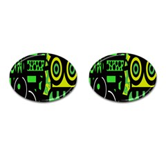 Half Grower Banner Polka Dots Circle Plaid Green Black Yellow Cufflinks (oval) by Mariart