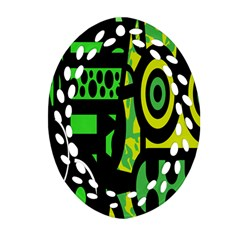 Half Grower Banner Polka Dots Circle Plaid Green Black Yellow Ornament (oval Filigree) by Mariart