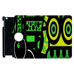 Half Grower Banner Polka Dots Circle Plaid Green Black Yellow Apple Ipad 3/4 Flip 360 Case by Mariart
