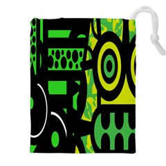 Half Grower Banner Polka Dots Circle Plaid Green Black Yellow Drawstring Pouches (xxl) by Mariart