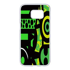 Half Grower Banner Polka Dots Circle Plaid Green Black Yellow Samsung Galaxy S7 Edge White Seamless Case by Mariart