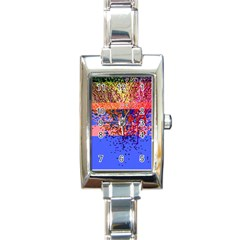 Glitchdrips Shadow Color Fire Rectangle Italian Charm Watch by Mariart