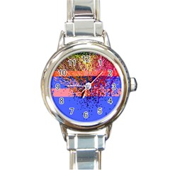 Glitchdrips Shadow Color Fire Round Italian Charm Watch