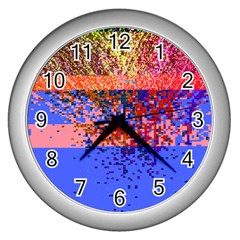 Glitchdrips Shadow Color Fire Wall Clocks (silver)  by Mariart