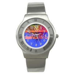 Glitchdrips Shadow Color Fire Stainless Steel Watch by Mariart