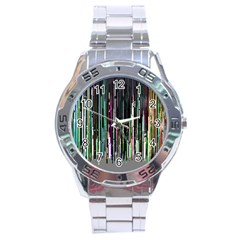 Heimbold Sign Random Shadow Line Vertical Light Stainless Steel Analogue Watch