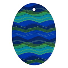 Geometric Line Wave Chevron Waves Novelty Ornament (oval) by Mariart