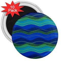 Geometric Line Wave Chevron Waves Novelty 3  Magnets (10 Pack)  by Mariart