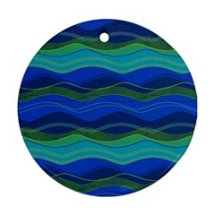 Geometric Line Wave Chevron Waves Novelty Round Ornament (two Sides) by Mariart