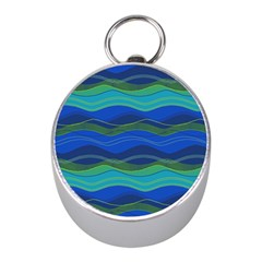 Geometric Line Wave Chevron Waves Novelty Mini Silver Compasses by Mariart