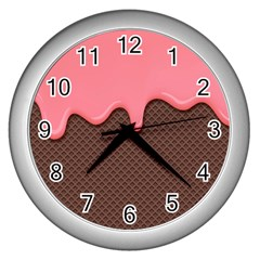 Ice Cream Pink Choholate Plaid Chevron Wall Clocks (silver)  by Mariart