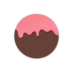Ice Cream Pink Choholate Plaid Chevron Magnet 3  (round) by Mariart