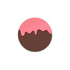 Ice Cream Pink Choholate Plaid Chevron Golf Ball Marker by Mariart