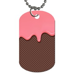 Ice Cream Pink Choholate Plaid Chevron Dog Tag (two Sides) by Mariart