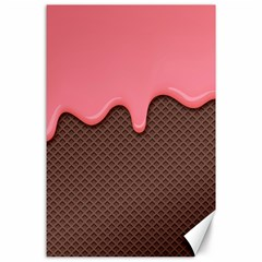 Ice Cream Pink Choholate Plaid Chevron Canvas 24  X 36  by Mariart