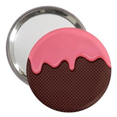 Ice Cream Pink Choholate Plaid Chevron 3  Handbag Mirrors by Mariart