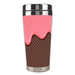 Ice Cream Pink Choholate Plaid Chevron Stainless Steel Travel Tumblers by Mariart