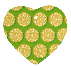 Lime Orange Yellow Green Fruit Ornament (heart) by Mariart