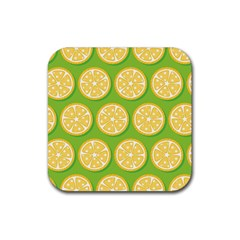 Lime Orange Yellow Green Fruit Rubber Square Coaster (4 Pack)  by Mariart