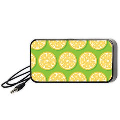 Lime Orange Yellow Green Fruit Portable Speaker (black) by Mariart