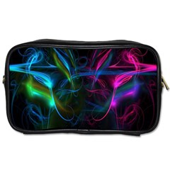Light Waves Light Red Blue Toiletries Bags 2 Side by Mariart
