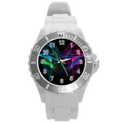 Light Waves Light Red Blue Round Plastic Sport Watch (l) by Mariart