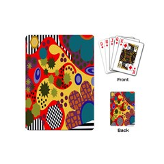 Line Star Polka Dots Plaid Circle Playing Cards (mini)  by Mariart