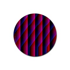 Photography Illustrations Line Wave Chevron Red Blue Vertical Light Rubber Round Coaster (4 Pack)  by Mariart