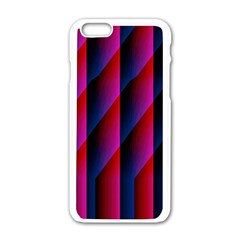 Photography Illustrations Line Wave Chevron Red Blue Vertical Light Apple Iphone 6/6s White Enamel Case