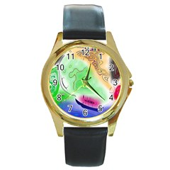 Mirror Light Round Gold Metal Watch by Mariart