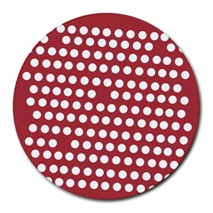 Pink White Polka Dots Round Mousepads by Mariart