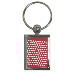 Pink White Polka Dots Key Chains (rectangle)  by Mariart