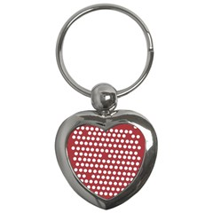 Pink White Polka Dots Key Chains (heart)  by Mariart