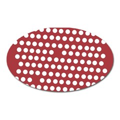 Pink White Polka Dots Oval Magnet by Mariart